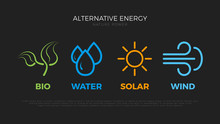 Alternative Energy Sources. Templates For Renewable Energy Or Ecology Logos. Nature Power Symbols. Simple Icons
