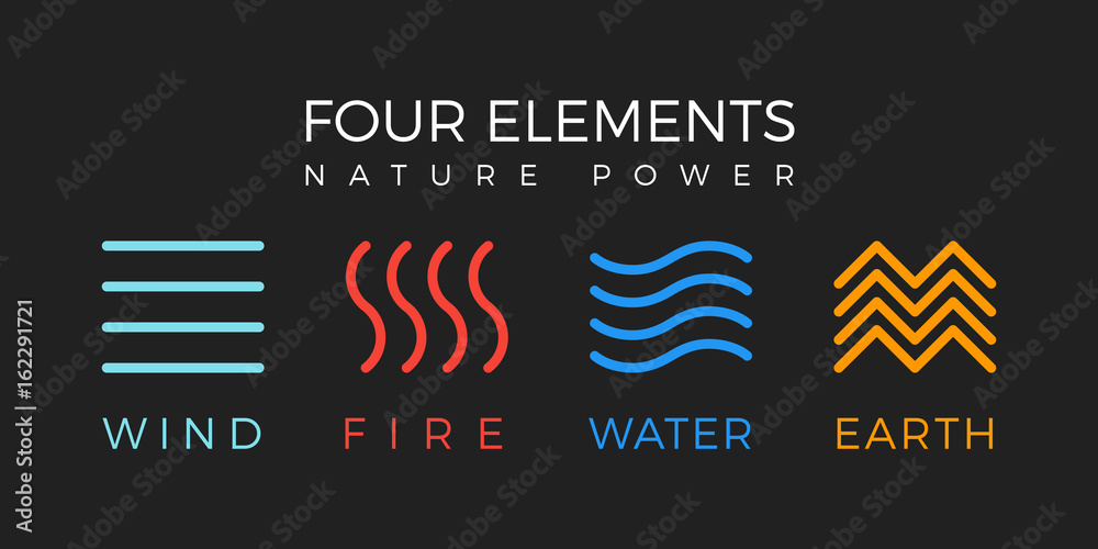 Fototapeta Four elements simple line symbol. Vector logo template. Wind, fire, water, earth sign.