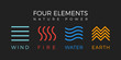 Four elements simple line symbol. Vector logo template. Wind, fire, water, earth sign.