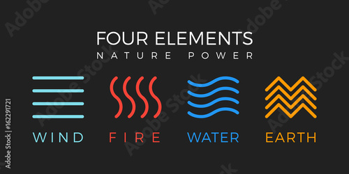 Fototapeta Four elements simple line symbol. Vector logo template. Wind, fire, water, earth sign. obraz