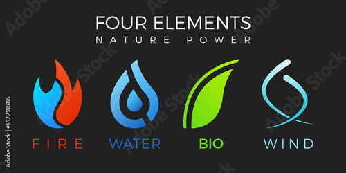Four elements symbol. Vector logo template. Air, fire, water, bio ...