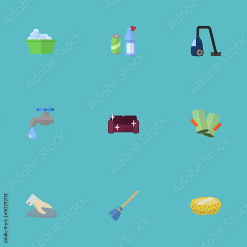 Flat Icons Sofa Sweeper Faucet And Other Vector Elements Set Of