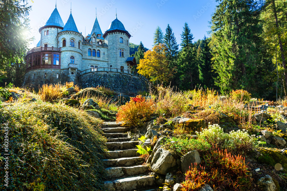 Fototapeta Romantic castles of Valle d'Aosta - faiy tale Savoia castle. North of Italy