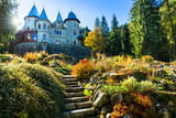 Romantic castles of Valle d'Aosta - faiy tale Savoia castle. North of Italy