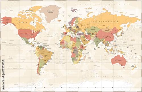 Fotobehang Wereldkaart Vintage World Map - Vector Illustration