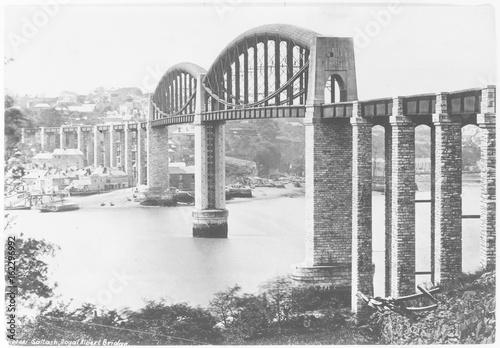 Royal Albert Bridge (Brunel Bridge) Saltash. Date: 1890 Wallpaper Mural