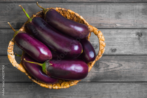 Eggplant in a wicker basket