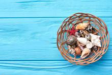 Seashells In Basket, Blue Back...