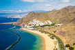 Amazing aerial view of the Teresitas beach view on Tenerife island