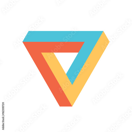Fotografie, Obraz  Penrose triangle icon in three colors