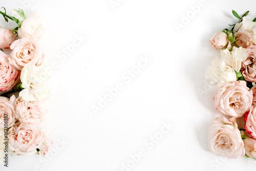 Fotografia, Obraz  Flower border frame made of beige roses on white background