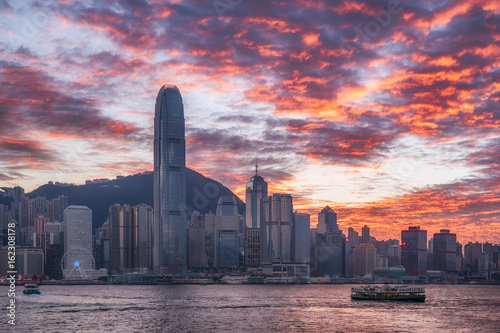 Plakat Hong Kong miasto w blasku słońca