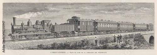 Valokuva Orient Express train in a rural setting. Date: 1884