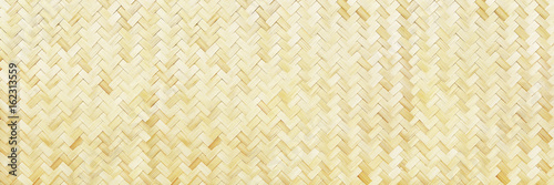 Photo horizontal woven bamboo texture for background and design