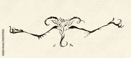 Drawing of a demon. Date: 19th century Wallpaper Mural