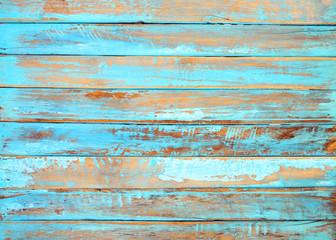 Fototapeta Old beach wood background - vintage blue color wooden plank