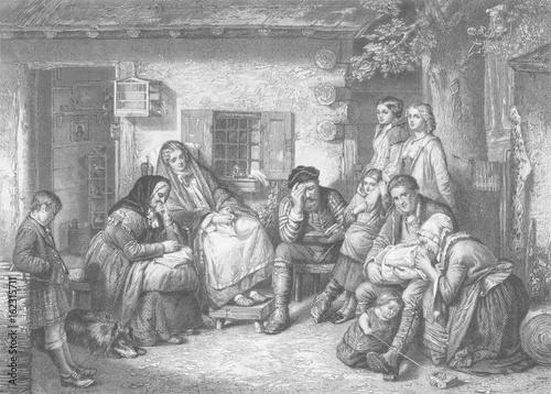 Obraz na plátne Settlers in Canada observing the Sabbath. Date: circa 1850
