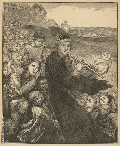 The Pied Piper of Hamelin Followed by Children Canvas Print