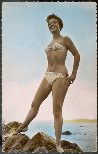 Striped Bikini 1950s. Date: 1950s Canvas Print