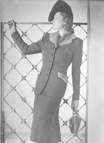 Costume - Fake Fur circa 1940. Date: circa 1940 Canvas Print