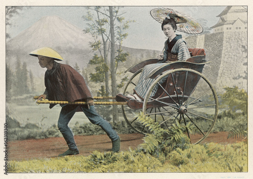 Rickshaw Japan. Date: 1890s Tablou Canvas