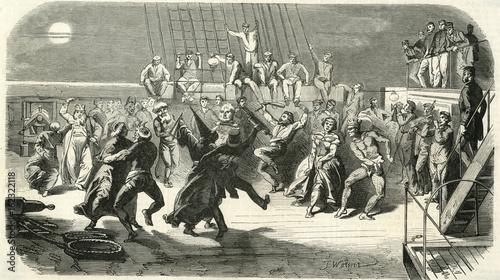 Fotografie, Obraz  Celebrating the crossing of the Equator. Date: 1858