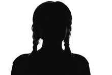 Silhouette Of A Girl With Pigtails