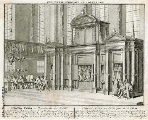 In de dag Illustratie Parijs Rite of Simcha Tora in Judaism. Date: 1737