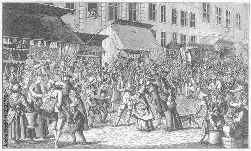 Fotomural  Xmas Market - 18th century Prussia. Date: 1776