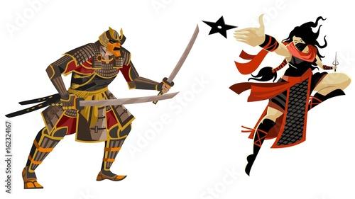 Cuadros en Lienzo samurai warrior vs ninja