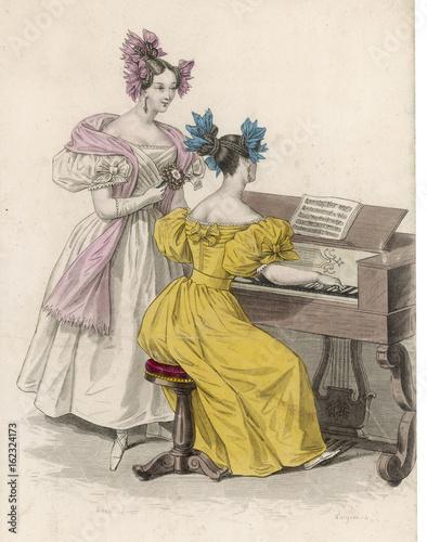Fotografie, Obraz  Costume - Harpsichord. Date: 1833