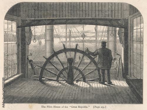 Valokuvatapetti Steamboat Wheelhouse. Date: 1874