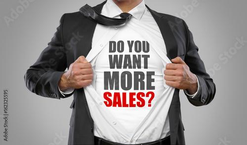 Fototapeta Do you want more sales? / man open shirt obraz