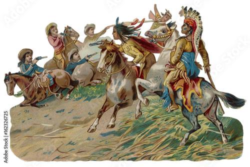 Carta da parati Fighting Native American. Date: 19th century
