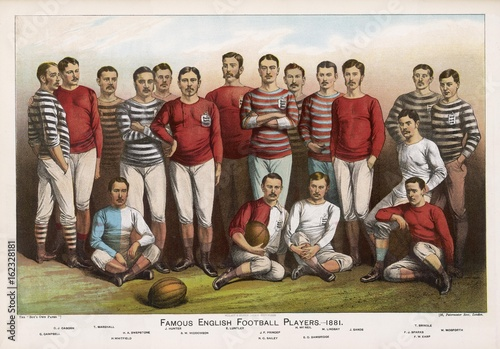 Fotografie, Obraz  English football players in team picture. Date: 1881