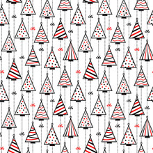 Seamless Pattern Texture Background With Christmas Trees In Style Of Self Made Decoration Of Stitched Patches Hanging On Garland Rope In Black, White And Red Color