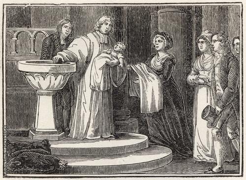 Baptism. Date: 1820 Wallpaper Mural