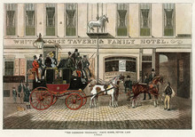 Stagecoach At White Horse 1835. Date: Circa 1835