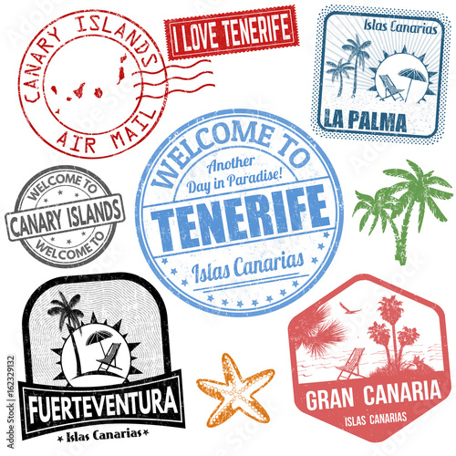 Travel stamps set with Canary Islands Fototapeta