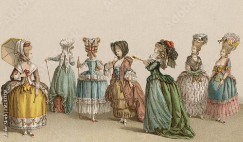 Obraz na plátne French Women 1780. Date: circa 1780