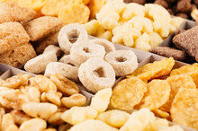 Corn Flakes Set Closeup, Decorative Chess Pattern. Cereals Background.