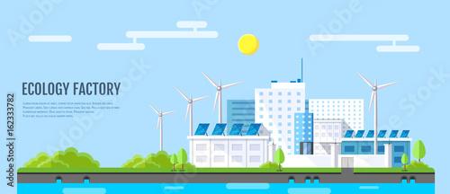 Obraz na płótnie Flat style modern design of ecology factory landscape