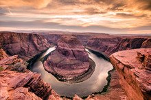 Sunset At Horseshoe Bend - Grand Canyon With Colorado River - Located In Page, Arizona - United States