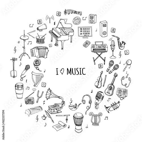 Hand Drawn Doodle I Love Music Set Vector Illustration Musical