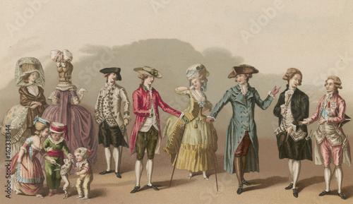 Obraz na plátne Men and Women circa 1780. Date: circa 1780