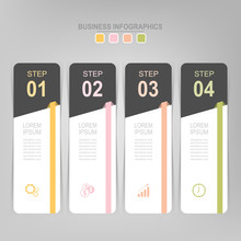 Infographic Template Of Four Steps On Squares, Tag Banner, Work Sheet, Flat Design Of Business Icon, Vector