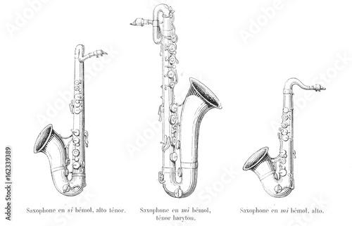 Photo Three Saxophones. Date: late 19th century