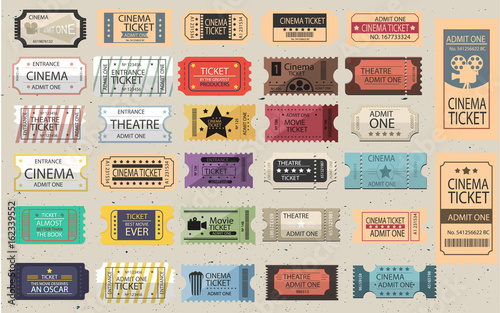 Fotografie, Obraz  Colletion of 30 isolated Retro tickets in different styles
