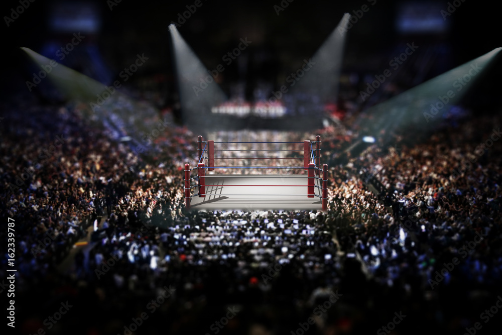 Fototapety, obrazy: Empty boxing ring surrounded with spectators. 3D illustration