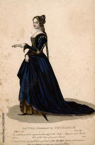 Laura De Noves - Blue Dres. Date: circa 1330 Canvas Print